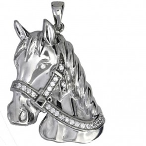 Children's Sterling Silver Cubic Zirconia Horse Head Pendant On A Curb Necklace
