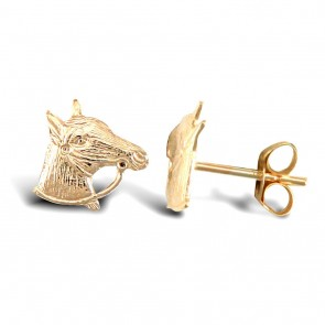 9ct Gold Horse Head with Reins Stud Earrings