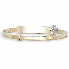 Childrens 9ct  Gold Cross Christening Bangle