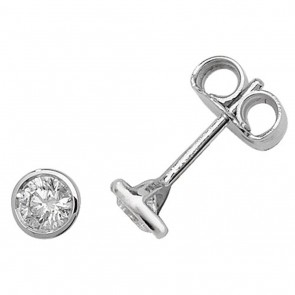 18ct White Gold 0.40ct Diamond Rubover Stud Earrings