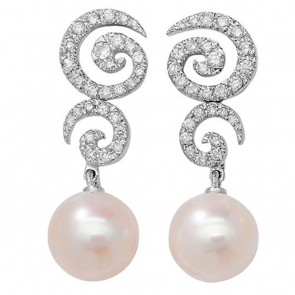 18ct White Gold Diamond & Freshwater Pearl Drop Earrings