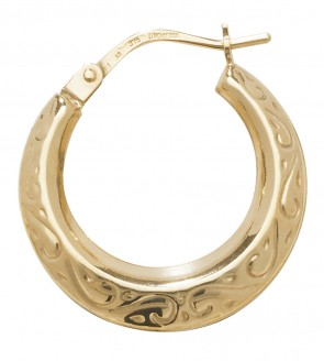 9ct Yellow Gold Medium Engraved Creole Earrings