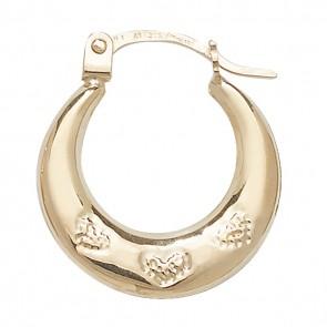 9ct Yellow Gold Heart Creole Earrings