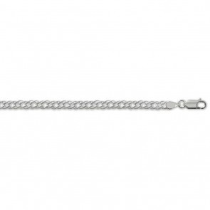 Sterling Silver Double Curb Chain Necklace - 4mm Thick - Various Lengths - 16, 18, 20, 22, 24, 26, 28 and 30 Inch Long
