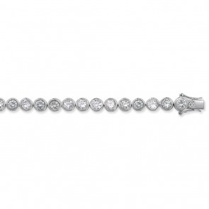 Sterling Silver Cubic Zirconia Chain Necklace - 6mm Thick - Various Lengths - 17, 28, 32 and 36 Inch Long
