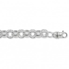 Sterling Silver Round Belcher Chain Necklace - 9mm Thick - Various Lengths - 22, 24, 26 and 30 Inch Long
