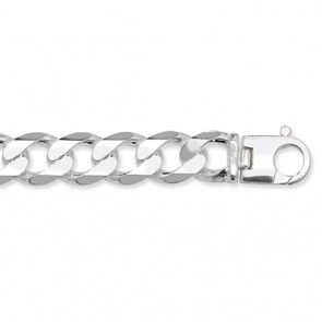 Sterling Silver Heavy Diamond Cut Curb Chain Necklace - 17mm Thick - Various Lengths - 24 and 26 Inch Long