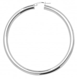 Sterling Silver 4MM Thick 60MM Hoop Earrings