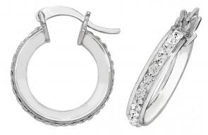Sterling Silver 15MM Crystal Hoop Earrings