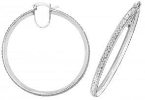 Sterling Silver 45MM Crystal Hoop Earrings