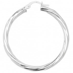 Sterling Silver Twisted 3MM Thick 37MM Hoop Earrings