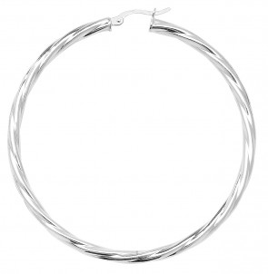 Sterling Silver Twisted 3MM Thick 57MM Hoop Earrings