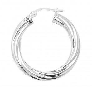 Sterling Silver Twisted 4MM Thick 30MM Hoop Earrings