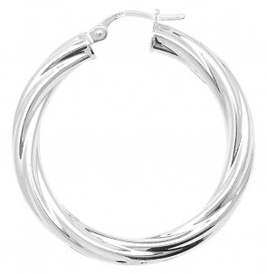 Sterling Silver Twisted 4MM Thick 34MM Hoop Earrings