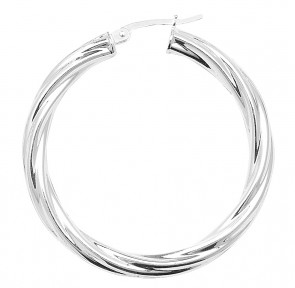 Sterling Silver Twisted 4MM Thick 40MM Hoop Earrings