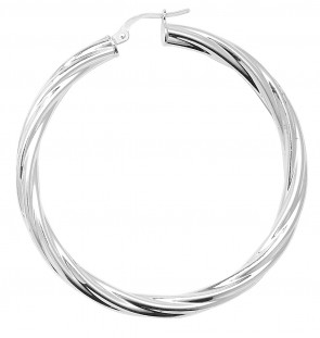 Sterling Silver Twisted 4MM Thick 50MM Hoop Earrings