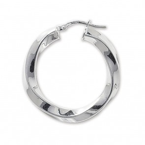Sterling Silver Chunky Twisted 4MM Thick 30MM Hoop Earrings