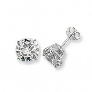 Sterling Silver 10MM Cubic Zirconia Round Stud Earrings