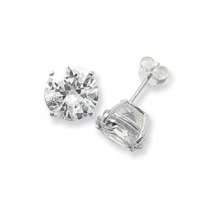 Sterling Silver 11MM Cubic Zirconia Round Stud Earrings