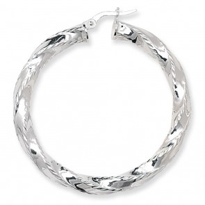 Sterling Silver Diamond Cut Twisted 45MM Hoop Earrings