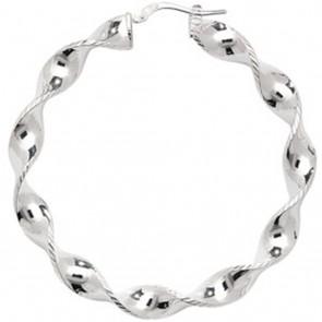 Sterling Silver 52MM Twisted Hoop Earrings