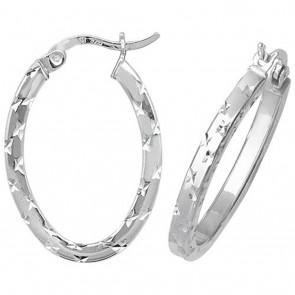Sterling Silver Diamond Cut Oval Square Tube Hoop Earrings