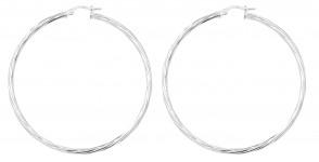 Sterling Silver 55MM Twisted Hoop Earrings