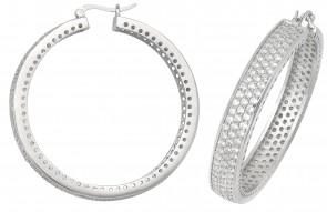 Sterling Silver 47MM Cubic Zirconia Hoop Earrings
