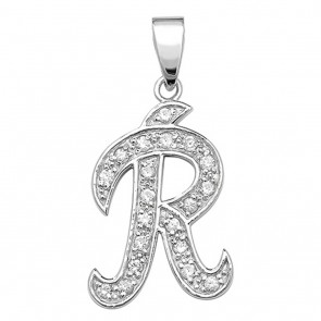 Sterling Silver Cubic Zirconia Set 25mm High Fancy Initial R Pendant On A Snake Necklace
