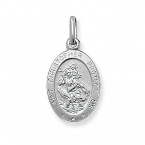 Sterling Silver Small Solid Oval St Christopher Pendant On A Snake Necklace