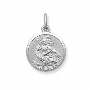 Sterling Silver Small Round St Christopher Pendant On A Snake Necklace