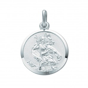 Sterling Silver Medium Round St Christopher Pendant