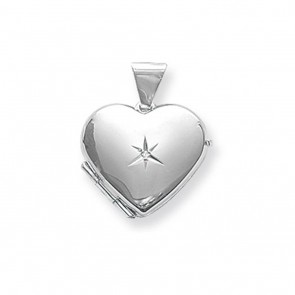 Children's Sterling Silver Diamond Heart Locket On A Curb Necklace