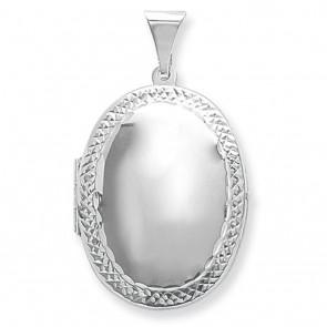 Sterling Silver Medium Engraved Edge Oval Locket