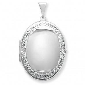 Sterling Silver Large Engraved Edge Oval Locket