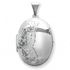 Sterling Silver Flower Engraved Oval Locket