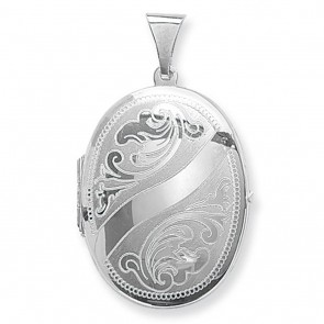 Sterling Silver Small Engraved Oval Locket