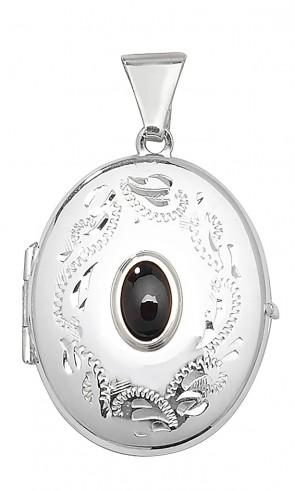 Sterling Silver Garnet Oval Locket