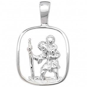 Sterling Silver Cut Out St Christopher Pendant
