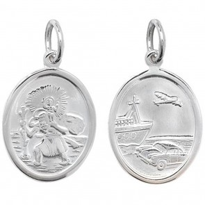 Sterling Silver Small Oval Double Sided St Christopher Pendant