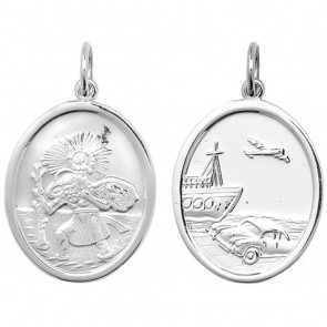 Sterling Silver Large Oval Double Sided St Christopher Pendant