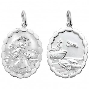 Sterling Silver Medium Oval Wave Edge Double Side St Christopher Pendant