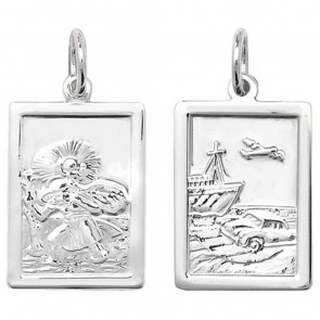 Sterling Silver Oblong Double Sided St Christopher Pendant