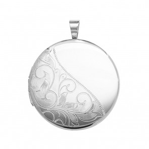 Children's Sterling Silver 21MM Round Half Engraved Locket On A Curb Necklace