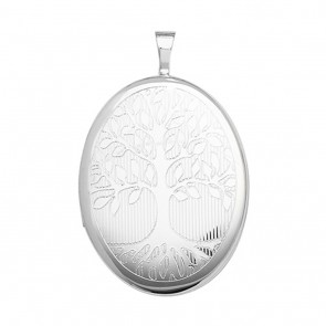 Children's Sterling Silver 25MM Oval Engraved Tree Of Life Locket On A Curb Necklace
