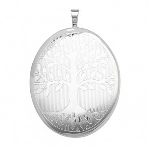 Children's Sterling Silver 34MM Oval Engraved Tree Of Life Locket On A Curb Necklace