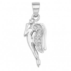 Men's Sterling Silver Cubic Zirconia Praying Angel Pendant On A Black Leather Cord Necklace
