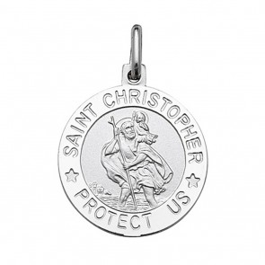 Sterling Silver Round Saint Christopher Protect Us Pendant On A Snake Necklace