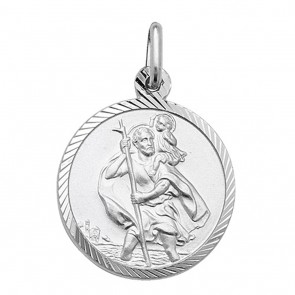 Children's Sterling Silver Diamond Cut 18MM Round Saint Christopher Pendant On A Curb Necklace