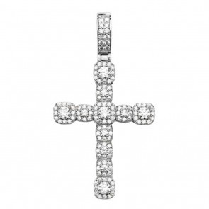 Children's Sterling Silver 40MM High Cubic Zirconia Set Cross Pendant On A Curb Necklace